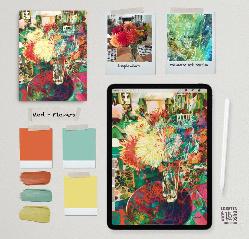 mood board of abstract floral artist Loretta BC Canada