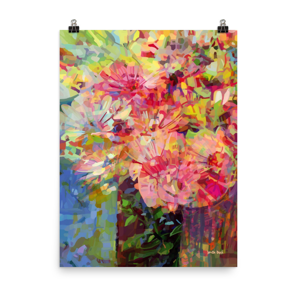 Wall décor abstract floral poster 18x24 title Bring Me Flowers digital-original painting artist Loretta Busch BC Canada