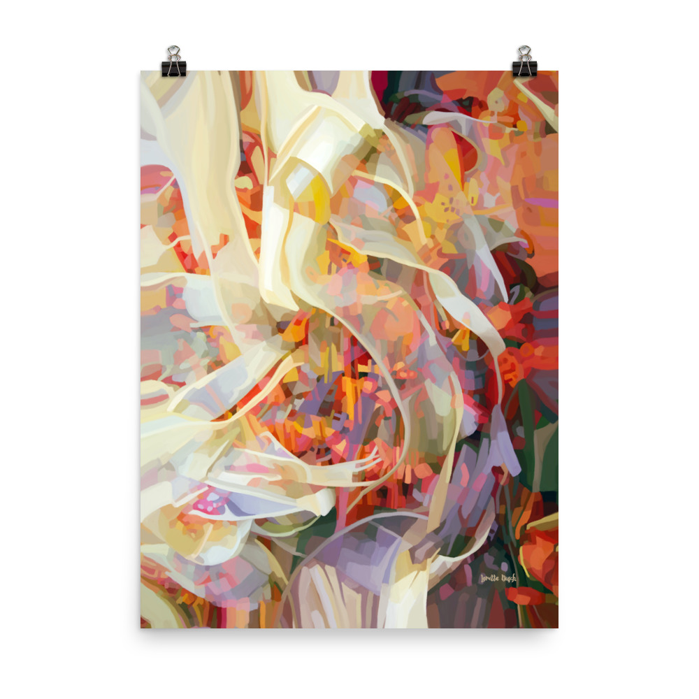 Wall décor abstract ribbons poster 18x24 title In the Flow digital-original painting artist Loretta Busch BC Canada